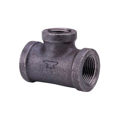 Anvil 1-1/4 In. X 1-1/4 In. X 2 In. Black Malleable Iron Tee