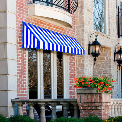 "Awntech CF33-5BBW, Window/Entry Awning 5' 4-1/2""W x 3'D x 3' 8""H Bright Blue/White"