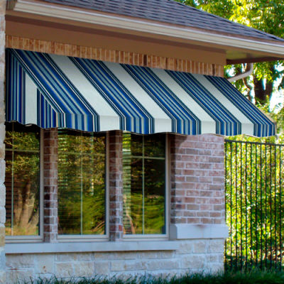 "Awntech CF44-3NGW, Window/Entry Awning 3' 4 -1/2""W x 4'D x 4' 8""H Navy/Gray/White"