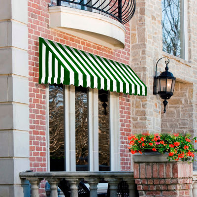 """Awntech CF44-6FW, Window/Entry Awning 6' 4 -1/2""""W x 4'D x 4' 8""""H Forest Green/White"""