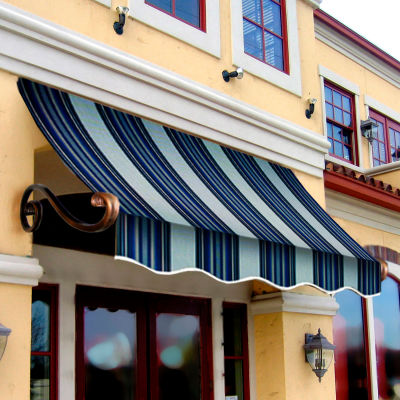 Awntech CH21-4NGW Window/Entry Awning 4-3/8'W x 2'H x 1'D Navy/Gray/White