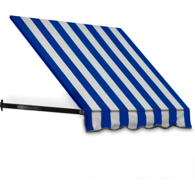 "Awntech CR44-5BBW, Window/Entry Awning 5' 4 -1/2""W x 4'D x 4' 8""H Bright Blue/White"