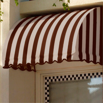 "Awntech CS33-6BRNT, Window/Entry Awning 6' 4-1/2""W x 3'D x 3' 8""H Brown/Tan"