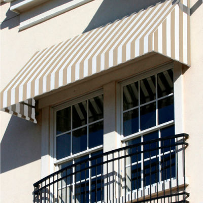 "Awntech EN2442-5LW, Window/Entry Awning 5' 4-1/2""W x 3' 6""D x 2' 7""H Linen/White"