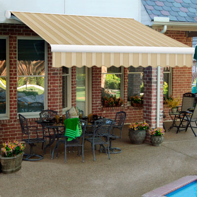 """Awntech KWL12-890-LAW, Retractable Awning Left Motor 12'W x 10'D x 10""""H Linen/Almond/White"""