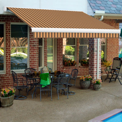 """Awntech KWM20-BRNT, Retractable Awning Manual 20'W x 10'D x 10""""H Projection Brown/Tan"""