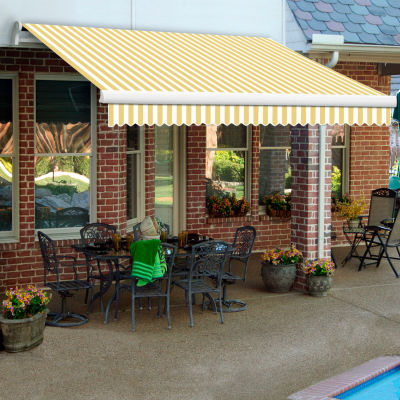 """Awntech MM18-371-YW, Retractable Awning Manual 18'W x 10'D x 10""""H Yellow/White"""
