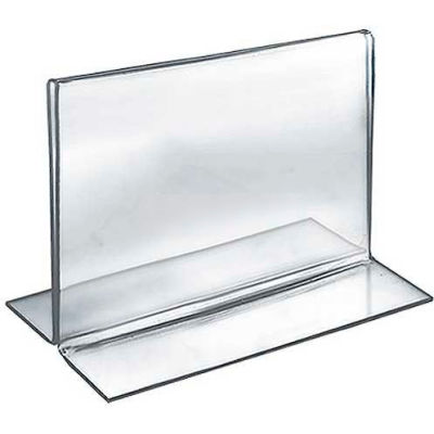 """Azar Displays 152725 Horizontal Double Sided Stand Up Sign Holder, 6"""" x 5"""", Acrylic"""