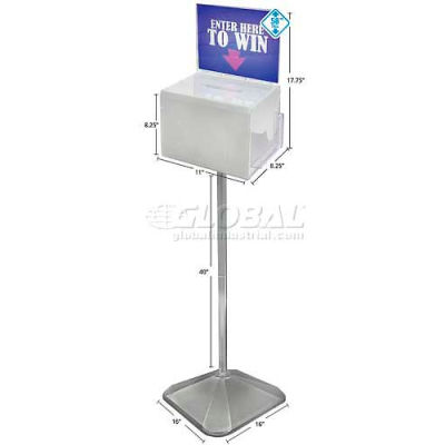 "Azar Displays 206303 Extra Large Acrylic Suggestion Box on Pedestal, 11"" x 8.25"", Acrylic ,1 Piece"