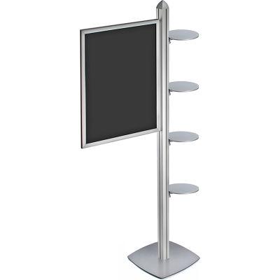 "Azar Displays 300296-SLV, Snap Frame Sky Tower Display W/ 4 Round Shelves 22""W x 18""D x 28""H"