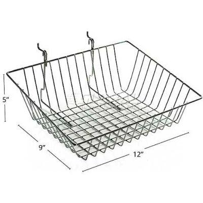 "Azar Displays 300624 Sloped Chrome Wire Basket, 9"" High, Metal"