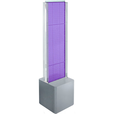 "Azar Displays 700728-PUR, Two-Sided Pegboard Floor Display W/ Studio Base, 14-1/2""W x 14""D x 44""H"