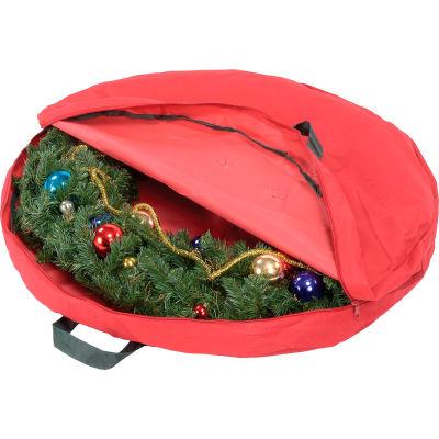 "Holiday 30"" Zipper Canvas Wreath Storage, Red/Pine Green - Pkg Qty 2"