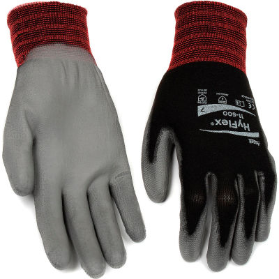 HyFlex® Lite Polyurehtane Coated Gloves, Ansell 11-600, Size 7, Black/Gray, 1 Pair - Pkg Qty 12