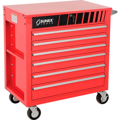 """Sunex Tools 8057 34-1/2""""W X 20""""D X 39-1/2""""H 6 Drawer Red Tool Cabinet W/ Clamshell Lid"""