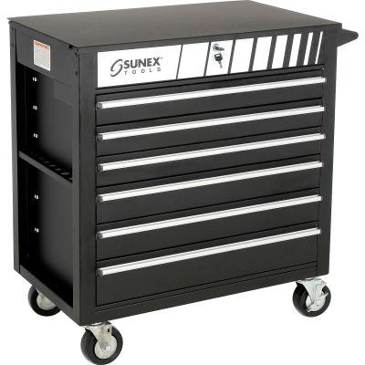 "Sunex Tools 8057BK 34-1/2""W X 20""D X 39-1/2""H 6 Drawer Black Tool Cabinet W/ Clamshell Lid"