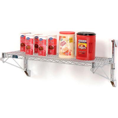 "Nexel® Chrome Wall Mount Wire Shelving 72""W x 24""D x 14""H 1 - Shelf Starter"