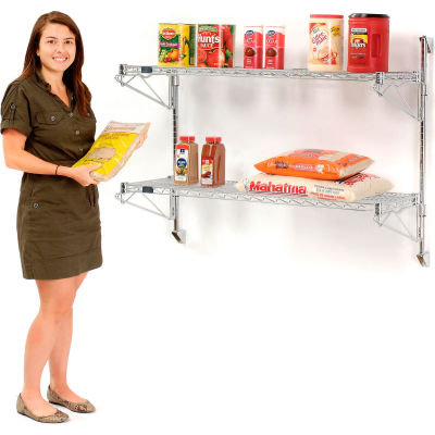 "Nexel® Chrome Wall Mount Wire Shelving 48""W x 14""D x 34""H 2 - Shelf Starter"