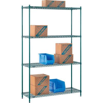 "Nexel® Poly-Green® Wire Shelving Starter, 54""W x 14""D x 86""H"