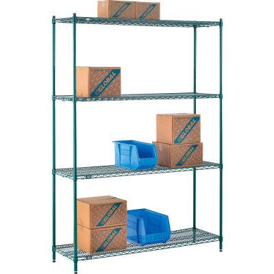 "Nexel® Poly-Green® Wire Shelving Starter, 60""W x 14""D x 86""H"