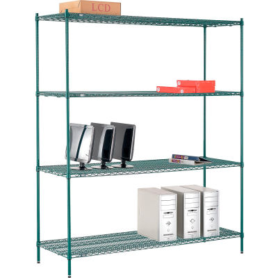 "Nexel® Poly-Green® Wire Shelving Starter, 72""W x 24""D x 86""H"