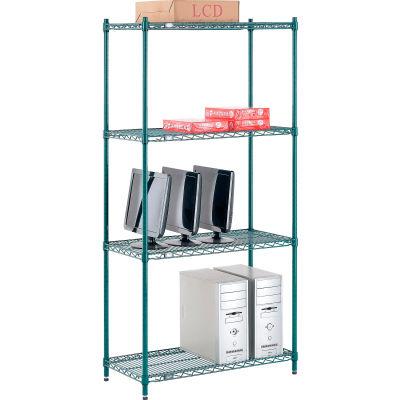"Nexel® Poly-Green® Wire Shelving Starter, 36""W x 14""D x 74""H"