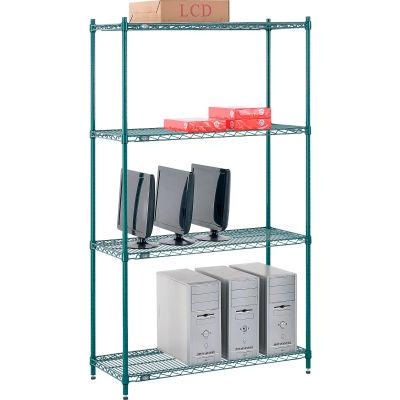 "Nexel® Poly-Green® Wire Shelving Starter, 42""W x 14""D x 74""H"