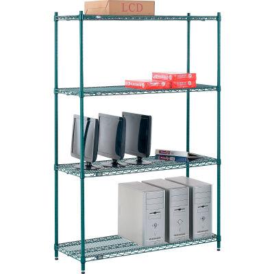 "Nexel® Poly-Green® Wire Shelving Starter, 48""W x 14""D x 74""H"
