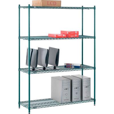 "Nexel® Poly-Green® Wire Shelving Starter, 54""W x 14""D x 74""H"
