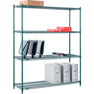 "Nexel® Poly-Green® Wire Shelving Starter, 60""W x 18""D x 74""H"