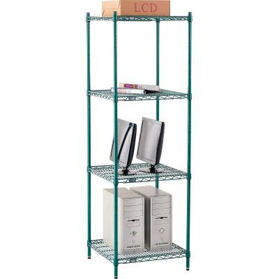 "Nexel® Poly-Green® Wire Shelving Starter, 24""W x 21""D x 74""H"