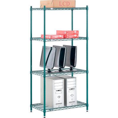 "Nexel® Poly-Green® Wire Shelving Starter, 30""W x 14""D x 54""H"
