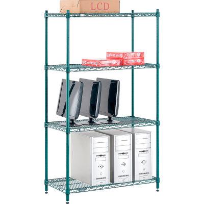 "Nexel® Poly-Green® Wire Shelving Starter, 36""W x 18""D x 63""H"