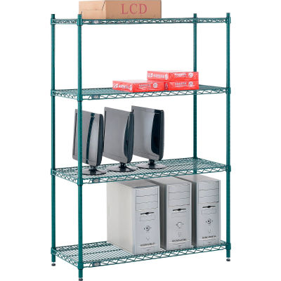 "Nexel® Poly-Green® Wire Shelving Starter, 42""W x 18""D x 54""H"
