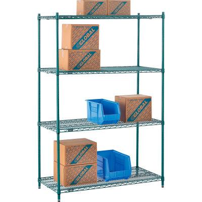 "Nexel® Poly-Green® Wire Shelving Starter, 48""W x 24""D x 74""H"