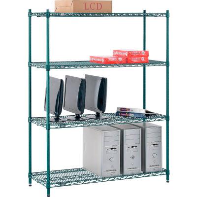 "Nexel® Poly-Green® Wire Shelving Starter, 48""W x 18""D x 63""H"