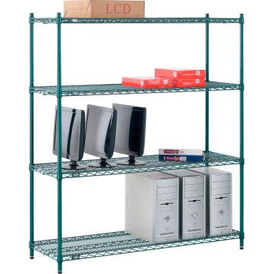 "Nexel® Poly-Green® Wire Shelving Starter, 54""W x 14""D x 63""H"