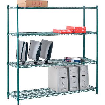 "Nexel® Poly-Green® Wire Shelving Starter, 60""W x 14""D x 63""H"