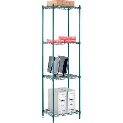 "Nexel® Poly-Green® Wire Shelving Starter, 24""W x 14""D x 86""H"