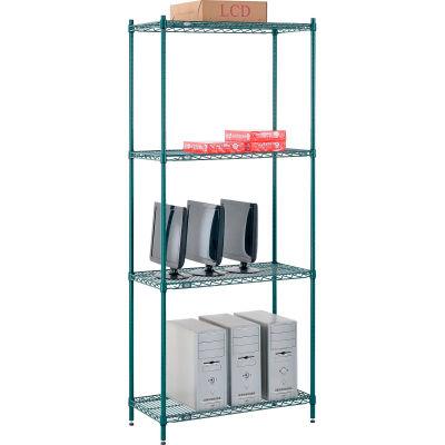 "Nexel® Poly-Green® Wire Shelving Starter, 36""W x 14""D x 86""H"