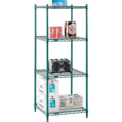 "Nexel® Poly-Green® Wire Shelving Starter, 24""W x 21""D x 54""H"