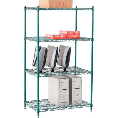 "Nexel® Poly-Green® Wire Shelving Starter, 36""W x 24""D x 63""H"