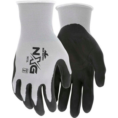 MCR Safety 9673L Memphis Foam Nitrile Gloves, Large, 13 Gauge, Gray/Black, Dozen