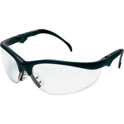 MCR Safety KD310 Klondike® Plus Safety Glasses, Ratchet Temple, Black Frame, Clear Lens