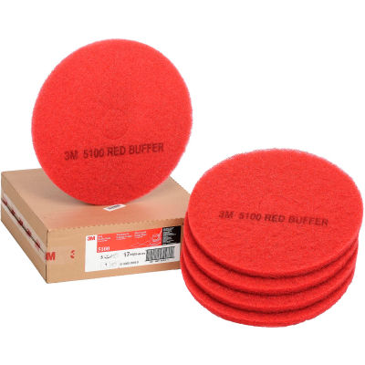 """3M™ 17"""" Buffing Pad, Red, 5 Per Case"""