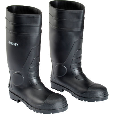 Tingley® 31151 Economy PVC Knee Boots, Black, Plain Toe, Cleated Outsole, Size 14