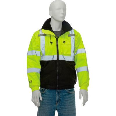 Tingley® J26112 Bomber II Hooded Jacket, Fluorescent Yellow/Green/Black, Small