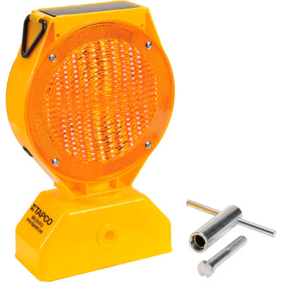 5785469 Individual Solar LED Barricade Light, Amber, 3-Way On/Off Switch