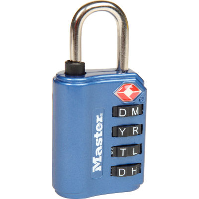 Master Lock® No. 4691DWD TSA-Accept Set-Your Own Combination Zinc Padlock - Assorted Colors - Pkg Qty 4