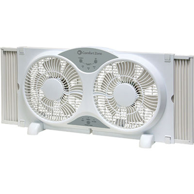 """Comfort Zone® CZ310R 9"""" Reversible Twin Window Fan with Remote Control"""